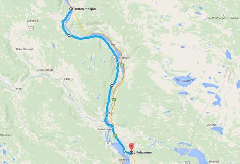 Tretten - Lillehammer via Fv 319